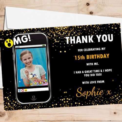 10 Personalised Birthday Party Thank you PHOTO Cards N264 Phone Emotion Style